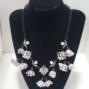 《INC》Black Necklace Chain Floral Flowers Gems